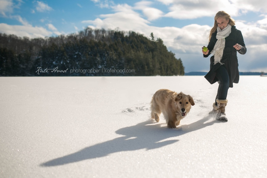 Winter Engagement Photos on Lake of Bays