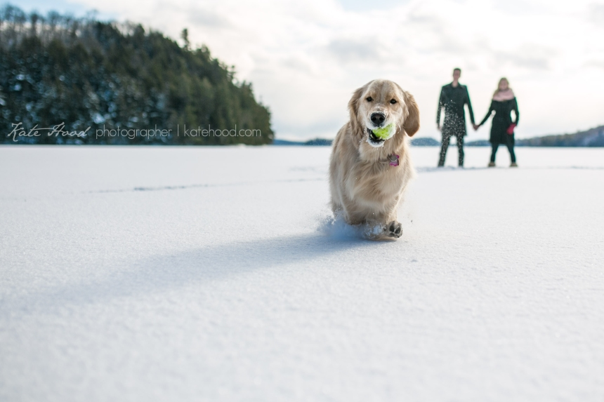 Winter Engagement Photos on Lake of Bays
